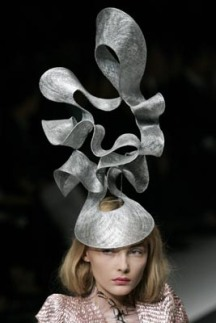 A model presents a creation by British designer Alexander McQueen as part of his Spring/Summer 2008 ready-to-wear fashion collection in Paris