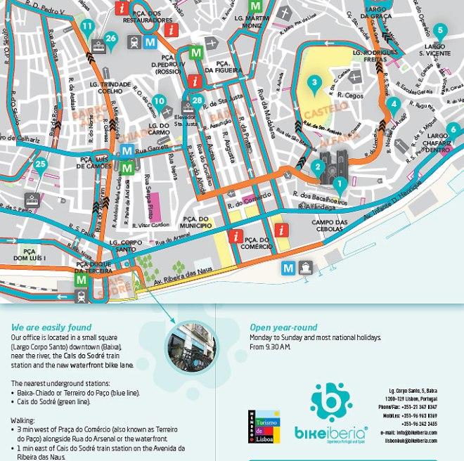 mappa ciclovia lisbona